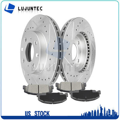 2 Rear Drill Slot Brake Disc Rotors 4 Pads For 2007-2011 Honda Civic Si Sedan