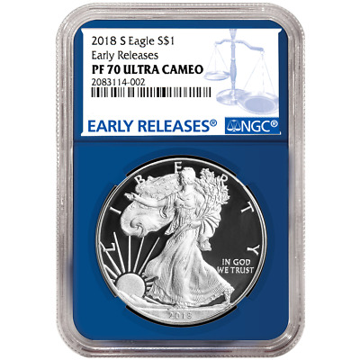 2018-S Proof $1 American Silver Eagle NGC PF70UC Blue ER Label Blue Core