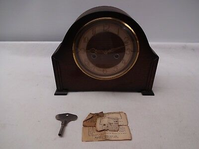 Old Wooden Cased Smiths Enfield Chiming Mantel Clock With Pendulum.tlc Required,