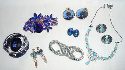 Vintage & Modern Blue & Teal Colored Costume Jewelry with Rhinestones Lot