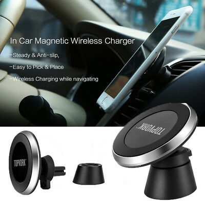 3 in 1 Fast Qi Wireless Charger Car Mount Phone Holder Charging Dock For iPhone