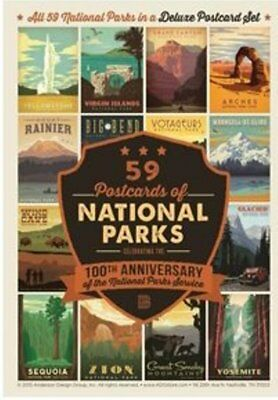 FREE SHIPPING NEW 59 Card Deluxe National Parks Postcard Set - 100th Anniversary