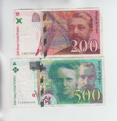 France Paper money 2 old notes  fine and better one has missing corner