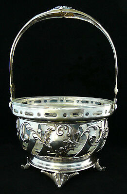 Antique 800 Silver Basket Bowl Ice Bucket Swing Handle Glass Insert