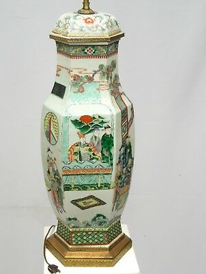 ANTIQUE 19c QING CHINESE FAMILLE VERTE GLAZED EIGHTEEN SCHOLARS SCENE VASE LAMP