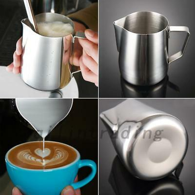 Stainless Steel Milk/Coffee Frothing Jug Container Metal Pitcher 0.6/1L