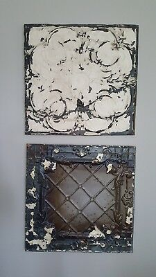 Antique Tin Ceiling Tile Wall Art Pair- Authentic - 24X24- Shabby, Farmhouse