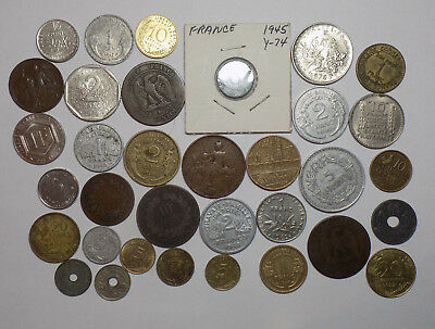 Type set of 34 Different French Coins 1800s & 1900s (L41)