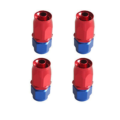 4Pcs Red Blue AN6 6-AN Straight Fuel Oil Gas Swivel Fitting Hose End Adaptor