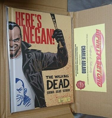 THE WALKING DEAD Here's Negan signed with sketch by Charlie Adlard COA Comic GN