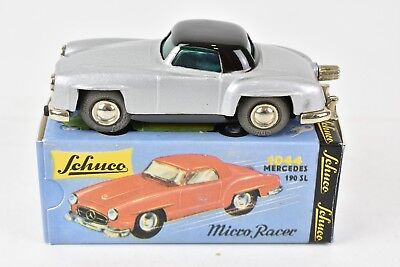 Schuco Micro Racer 1044 Mercedes 190 SL Silver Black Wind Up in Box