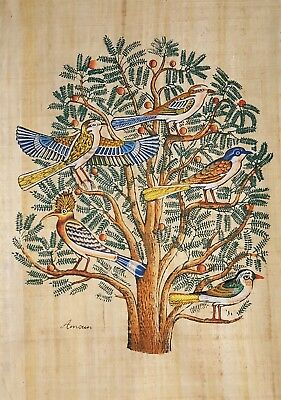 TREE OF LIFE   Hand-painted on 100% Handmade Egyptian Papyrus   Large  Story Of