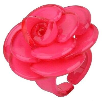 Amazing Rose Pink Lucite Camellia Flower Statement Ring Size 6!