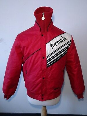 Vintage Skidoo Bombardier Formula Racing Jacket M  80's Snowmobile Coat Red