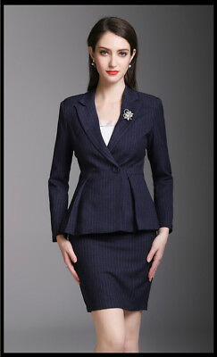 Custom Made Navy Stripe Women's Skirt Suits Work Office Lady Suits Jacket+Skirt