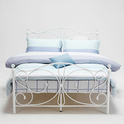 4e75aeb5c1ec 4ft, 4ft6 Double & 5ft King White Metal Bed Frame With Crystal Finials UK  STOCK