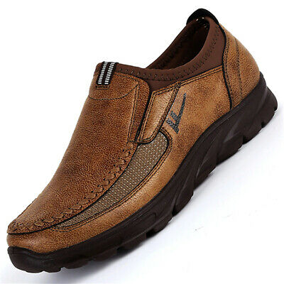 AU Men's Large Size Leather Oxfords Loafers Casual Driving Retro Moccasins Shoes