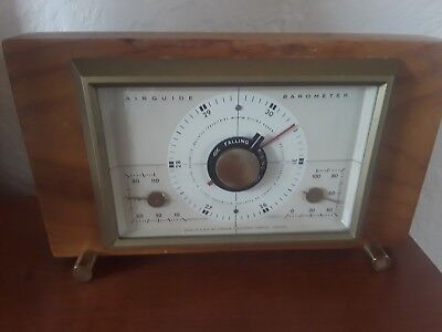 Vintage Air Guide Art Deco Wood And Brass Weather Station
