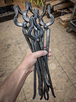 1/2 inch blacksmith tongs - hand forged -fits round and square material .5 half