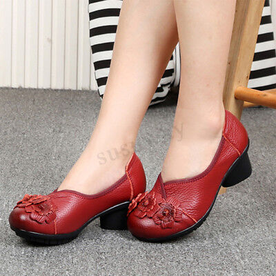 SOCOFY Women's Leather Mid Block Heel Round Toe Shoes Mary Jane Slip On Loafers