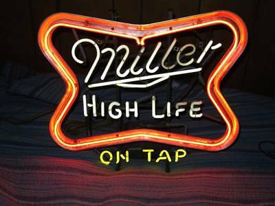 Vintage Miller High Life On Tap Neon Bar Beer Window Light Sign Pub Saloon Club