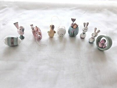Lot Of 9 Vintage Easter Tree Wooden Ornaments-Eggs, Bunnies & Chicks