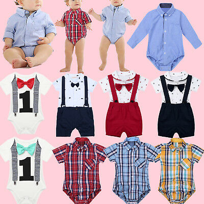 Infant Baby Boy Gentleman Outfits Suits Bow Tie Romper Bodysuit Overalls Clothes