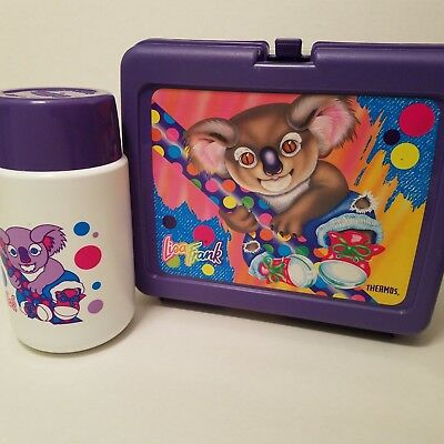 Vintage Lisa Frank Purple Koala bear lunch box lunchbox with original Thermos