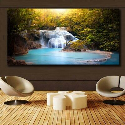 Posters prints On Canvas Waterfall View Huge Wall Deco Unframed k029 31inx63in