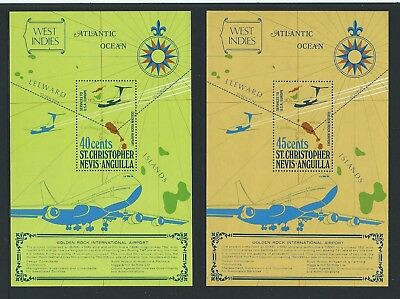 1974 ST.KITTS-NEVIS Golden Rock Airport Opening M/Sheet Set MNH (SG MS312,MS313)