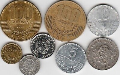 8 different world coins from COSTA RICA