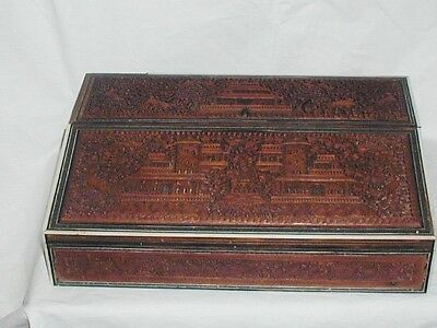 Antique Elaborately Carved Anglo Indian Wooden Writing Slope Box Elephant Tigers