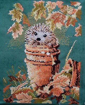 Completed Counted Cross Stitch Tapestry Unframed Picture Hedgehog In A Plant Pot