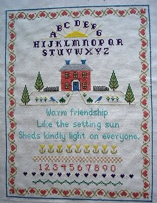 Completed Counted Cross Stitch Tapestry Unframed Picture Sampler Friendship