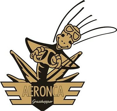 Aeronca Grasshopper Aircraft Logo/Decal 10''w x 9.5''h!