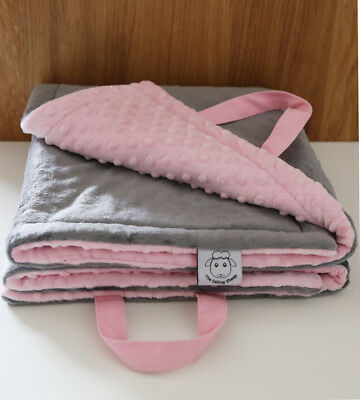* Sale * Limited time Minky Baby Play Mat Tummy Time Grey Pink Shower Gift