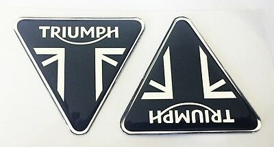 2pcs. Triumph Badge (56x50mm) 3D Domed Stickers. Silver Black.