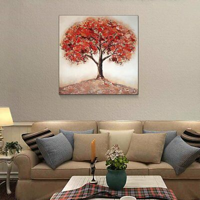 Hand-painted Modern Art Wall Decor Abstract Oil Painting Canvas red tree Q038