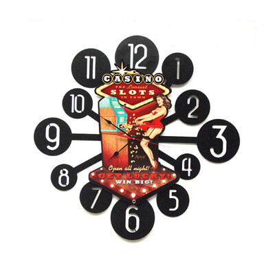 VINTAGE STYLE METAL SIGN Casino Pinup Clock 24 x 24