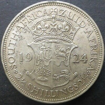 1924 South Africa two and a half Shillings Silver Coin