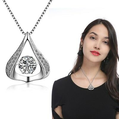 Stylish Heart Shaped Drop Necklace with Crystal Ladies Pendant Necklace Jewelry