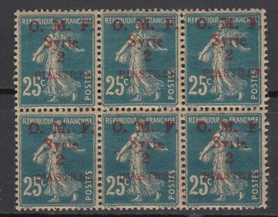 Syria France Military Occupation 2pia Block of 6 ovpt on 25c MNH-VF