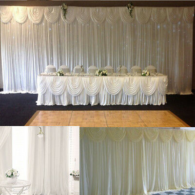 White Stage Photography Background Drape Curtains Wedding Party Backdrop 3M X 3M