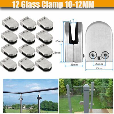 12 Glass Clamp 10-12MM Stainless Steel 304 Clip Flat Back Bracket For Balustrade