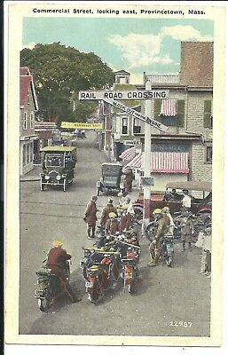Motorcycles on Commercial St. Provincetown Mass Vintage Original Postcard