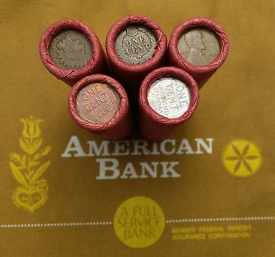 ONE Unsearched Wheat Cent Roll _ Old Plain Craft Paper