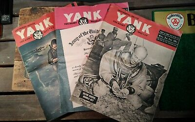 WW2 YANK MAGAZINE lot 1945 ARMY WEEKLY 3 EDITIONS VICTORY SILVER HUNTER