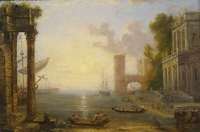 17th Century Italian Old Master Harbour Landscape Antique Oil Painting LORRAIN