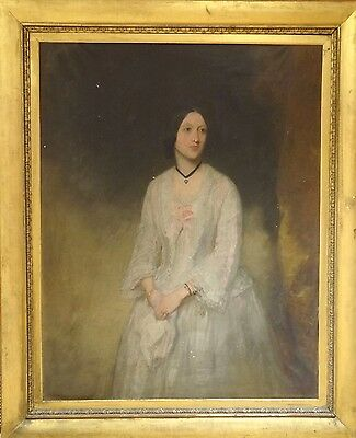 Huge Fine 19th Century English Lady Portrait White Dress Antique Oil Painting