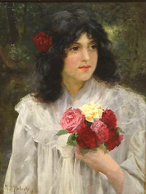 Fine Large 19th Century English June Roses Girl Portrait Antique Oil Painting